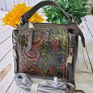 Genuine Leather Embossed Flower Handbag